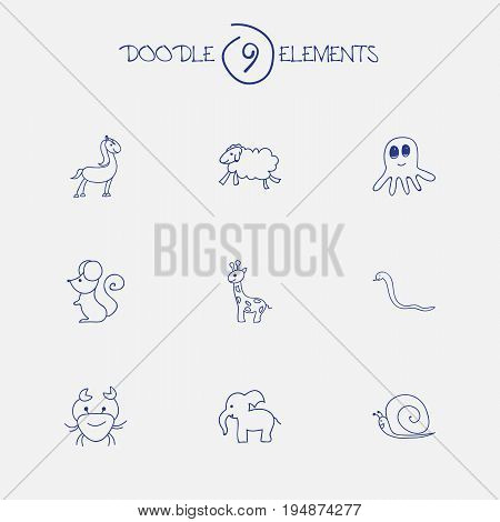 Set Of 9 Editable Zoo Icons. Includes Symbols Such As Tall Animal, Elephant, Ewe And More. Can Be Used For Web, Mobile, UI And Infographic Design.