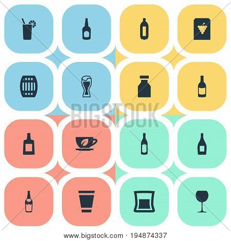 Vector Illustration Set Of Simple Water Icons. Elements Bottle, Brandy, Cask Synonyms Container, Fruit And Cup.