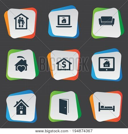 Vector Illustration Set Of Simple Estate Icons. Elements Capital, Open Door, Comfort And Other Synonyms Door, House And Settee.
