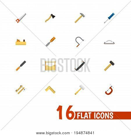 Set Of 16 Editable Apparatus Icons. Includes Symbols Such As Clinch, Hacksaw, Saw And More. Can Be Used For Web, Mobile, UI And Infographic Design.