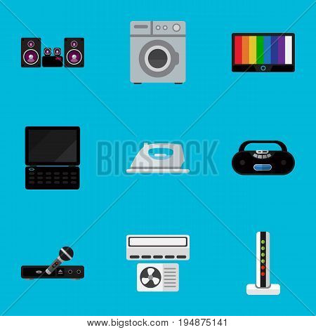 Set Of 9 Editable Technology Icons. Includes Symbols Such As Modem, Microphone, Appliance And More. Can Be Used For Web, Mobile, UI And Infographic Design.