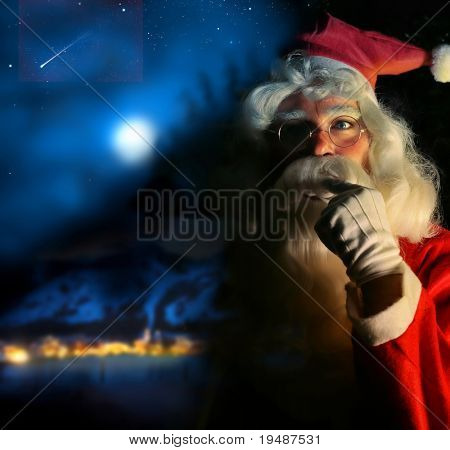 Nostalgique portrait magique du père Noël au pôle Nord