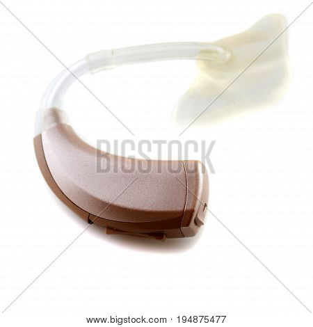 modern digital hearing aid on the white background