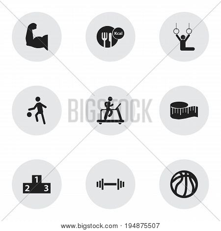 Set Of 9 Editable Sport Icons. Includes Symbols Such As Jogging, Platform For Winner, Crossbar And More. Can Be Used For Web, Mobile, UI And Infographic Design.