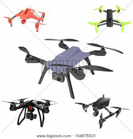 Realistic remote air drone quad-copter with camera. Vector illustration on abstract background.