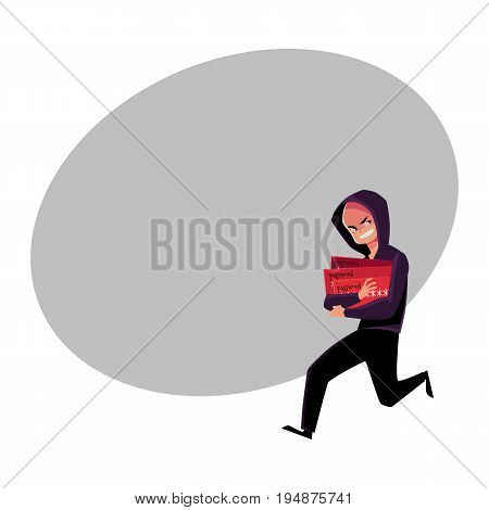 Hacker in black disguise running away, credit card fraud, theft concept, cartoon vector illustration with space for text. Illustration of credit card fraud, theft with hacker running away