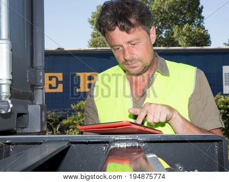 Manager Using Tablet Pc In Industrial Environment
