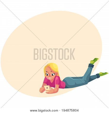 Young woman playing with smartphone, using mobile phone, lying on her stomach, cartoon vector illustration with space for text. Woman, girl in jeans and t-shirt lying with mobile phone