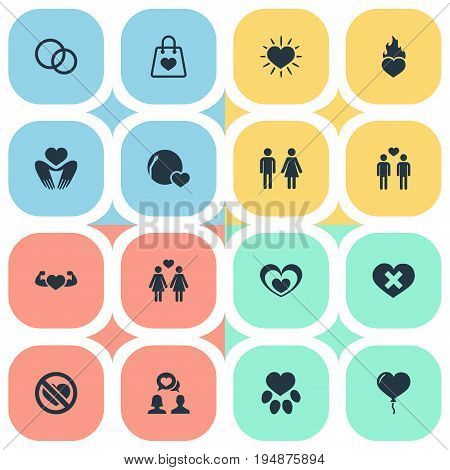 Vector Illustration Set Of Simple Love Icons. Elements Fire, Wedding, Beloveds And Other Synonyms Heart, Wedding And Gays.