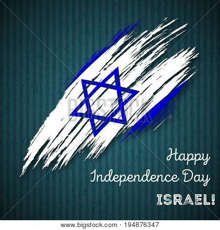 Israel Independence Day Patriotic Design. Expressive Brush Stroke In National Flag Colors On Dark St
