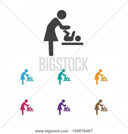 Vector Illustration Of Kid Symbol On Carefully Mother Icon. Premium Quality Isolated Changing Cloth Infant Element In Trendy Flat Style.
