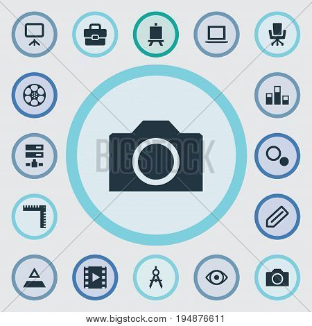 Vector Illustration Set Of Simple Designicons Icons. Elements Colums Graph, Hierarchy, Cinematography And Other Synonyms Laptop, Measurement And Reel.