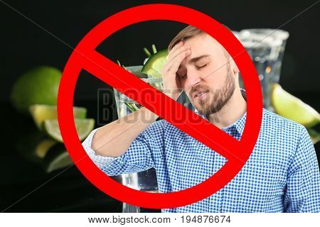 Collage of alcohol drink in glass, young man with headache and STOP sign on black background