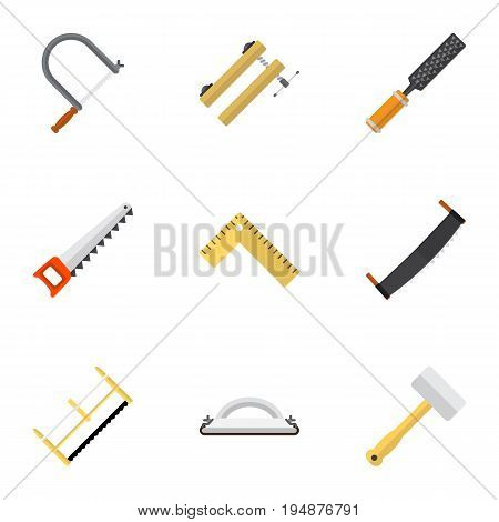 Set Of 9 Editable Equipment Icons. Includes Symbols Such As Nag, Rasp, Tool And More. Can Be Used For Web, Mobile, UI And Infographic Design.