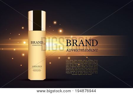 Tube of cream for the skin. Design cosmetics. Vector illustration Cosmetic ads template, Realistic Cosmetic bottle. Container for cream, foams and other cosmetics with lights and glitter elements on the background, 3d illustration