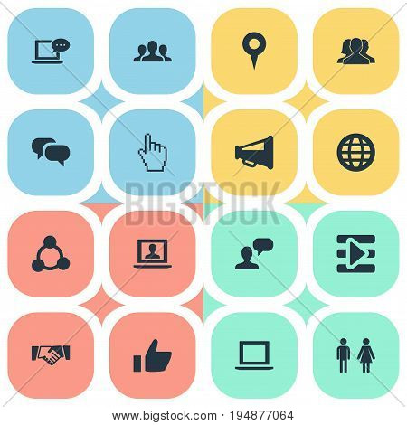 Vector Illustration Set Of Simple Internet Icons. Elements Web, Media Control, Notebook And Other Synonyms Mark, Point And Megaphone.