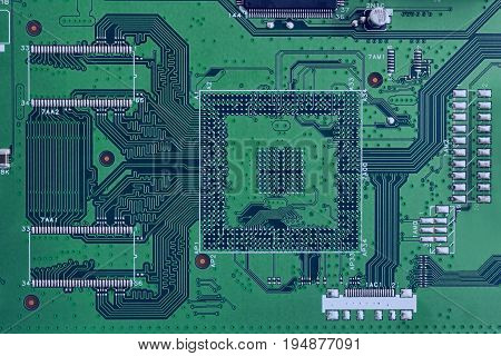 Electronic Circuit Board Green Color Close-up. High-tech Computer Motherboard For ..tv.