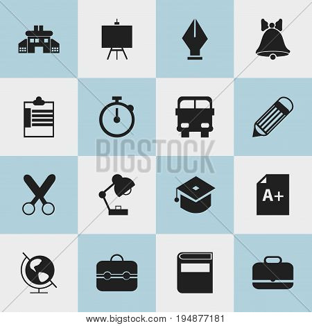 Set Of 16 Editable Education Icons. Includes Symbols Such As Nib, Supervision List, Jingle And More. Can Be Used For Web, Mobile, UI And Infographic Design.