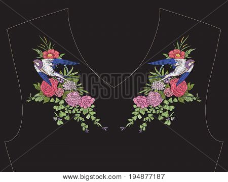 Embroidery for neckline, collar for T-shirt, blouse, shirt. Pattern of flowers and swallow bird Stock vector illustration. On black background.