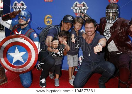 LOS ANGELES - JUL 8:  Star-Lord, Will Yun Lee, Son, Nick Lachey, Son, Captain America_ at the Marvel Universe Live Red Carpet at the Staples Center on July 8, 2017 in Los Angeles, CA