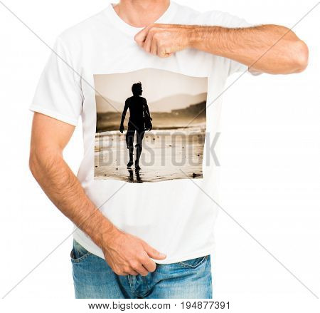 Man wearing a simple white t-shirt of good material with printed man at the beach