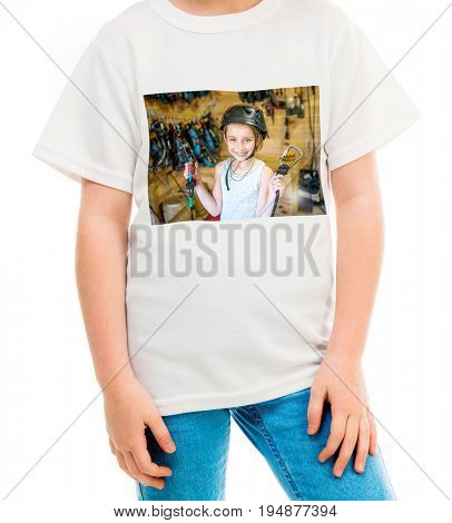 Ordinarty white t-shirt with a colorful print of an equiped for high ropes girl