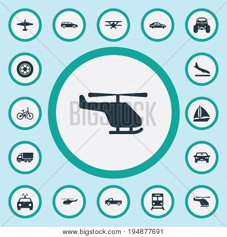 Vector Illustration Set Of Simple Transport Icons. Elements Truck, Motor, Chopper And Other Synonyms Whirlybird, Car And Automobile.