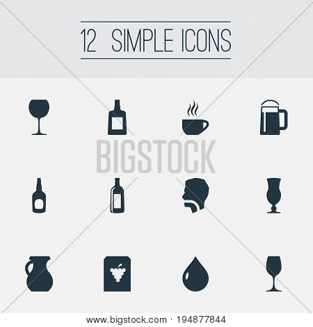 Vector Illustration Set Of Simple Water Icons. Elements Cappuchino, Tumbler, Brandy Synonyms Tumbler, Latte And Pub.