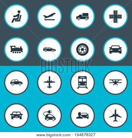 Vector Illustration Set Of Simple Transport Icons. Elements Aeration, Carriage, Metro And Other Synonyms Airbus, Passenger And Locomotive.