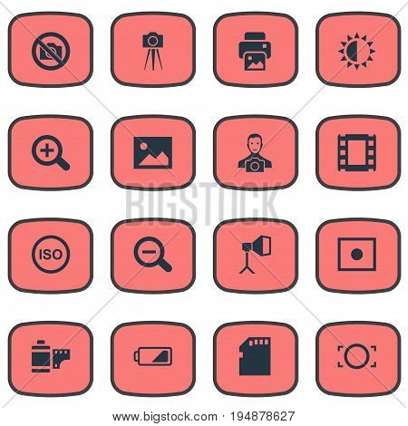 Vector Illustration Set Of Simple Photography Icons. Elements Film Strip, Registration, Rim And Other Synonyms Lustre, Picture And Strip.