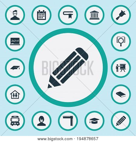 Vector Illustration Set Of Simple Knowledge Icons. Elements Books, Preschool Building, Reminder And Other Synonyms Academy, Jurisprudence And Information.