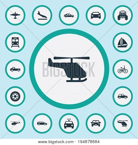 Vector Illustration Set Of Simple Transport Icons. Elements Chopper, Auto, Yacht And Other Synonyms Landing, Velocipede And Ramjet.