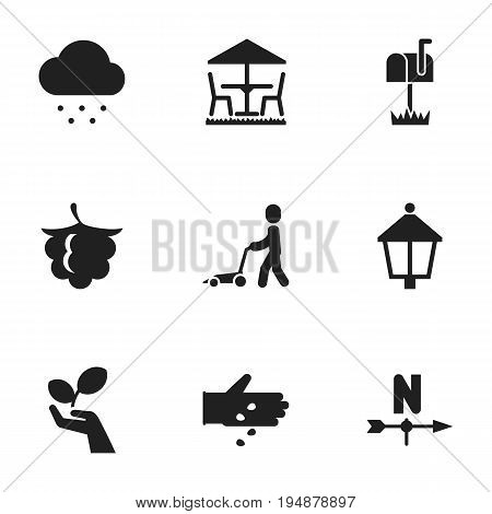Set Of 9 Editable Agriculture Icons. Includes Symbols Such As Breeze Direction, Plant Protection, Blackberry And More. Can Be Used For Web, Mobile, UI And Infographic Design.