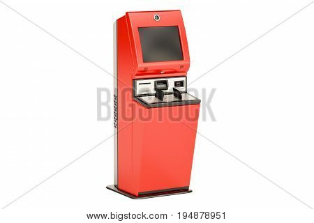 Financial services kiosk digital touchscreen terminal. 3D rendering isolated on white background