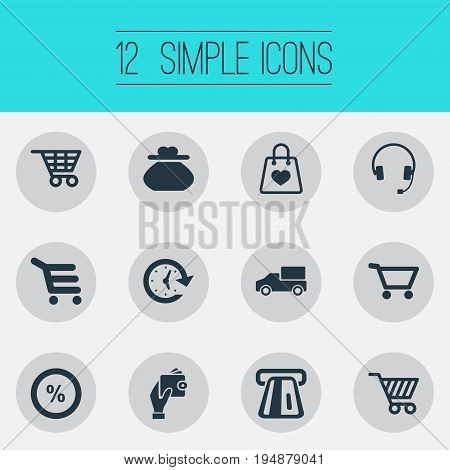 Vector Illustration Set Of Simple Purchase Icons. Elements Cart, Female Wallet, Sale And Other Synonyms Wallet, Purse And Cart.