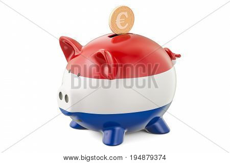 Investments in Netherlands. Piggy bank with flag and golden euro coin business concept. 3D rendering