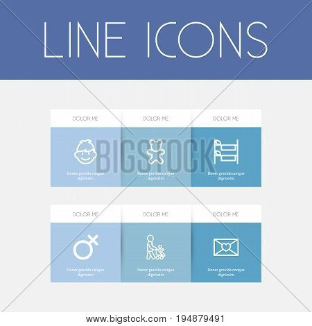 Set Of 6 Editable Kin Icons. Includes Symbols Such As Son, Doll, Female Sign And More. Can Be Used For Web, Mobile, UI And Infographic Design.