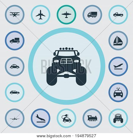 Vector Illustration Set Of Simple Transportation Icons. Elements Suv, Aero, Automotive And Other Synonyms Truck, Departure And Airline.