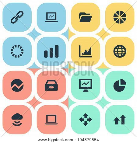 Vector Illustration Set Of Simple Information Icons. Elements Progress, Analytics, Circular Diagram And Other Synonyms Screen, Analytics And Cloud.