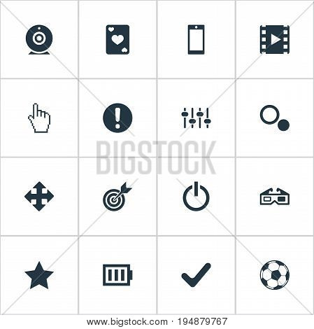 Vector Illustration Set Of Simple Play Icons. Elements Arrows, Mixer, Phone And Other Synonyms Low, Check And Cards.