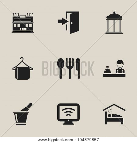 Set Of 9 Editable Hotel Icons. Includes Symbols Such As Entry, Bedroom, Entrance And More. Can Be Used For Web, Mobile, UI And Infographic Design.