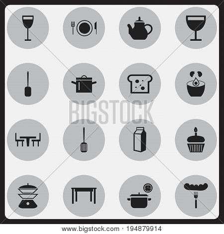 Set Of 16 Editable Kitchen Icons. Includes Symbols Such As Multicooker, Kitchen Shovel, Break Eggs And More. Can Be Used For Web, Mobile, UI And Infographic Design.