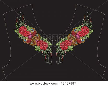 Embroidery for neckline, collar for T-shirt, blouse, shirt. Pattern of flowers and butterflies Stock vector illustration. On black background.