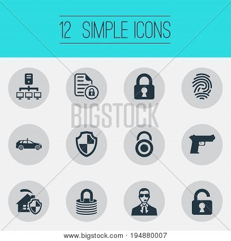 Vector Illustration Set Of Simple Security Icons. Elements Cop Automobile, Locked, Protect Home And Other Synonyms Padlock, Datacenter And Lock.