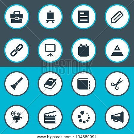 Vector Illustration Set Of Simple Design Icons. Elements Briefcase, Board, Hierarchy And Other Synonyms Text, Trim And Tool.