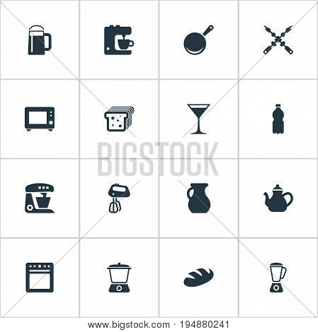 Vector Illustration Set Of Simple Gastronomy Icons. Elements Stove, Oven, Clay And Other Synonyms Snack, Cocktail And Skillet.