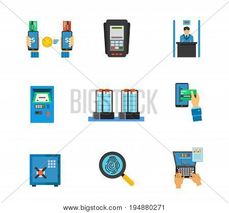 Banking service icon set. Mobile banking Dataphone Bank clerk Automated teller machine E-payment Safe protection Financial analysis. Contains bonus icons of Anti-theft sensor gates and Fingerprint