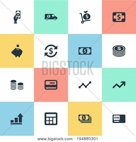 Vector Illustration Set Of Simple Bill Icons. Elements Exchange, Progress, Atm And Other Synonyms Success, Sack And Calculator.