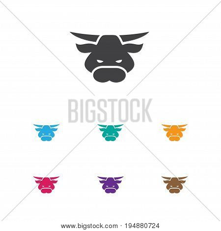 Vector Illustration Of Animal Symbol On Bull Icon. Premium Quality Isolated Ox Element In Trendy Flat Style.