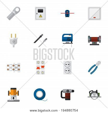 Set Of 16 Editable Instruments Icons. Includes Symbols Such As Geodesist, Outlet, Panel And More. Can Be Used For Web, Mobile, UI And Infographic Design.